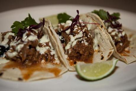 Among the entrees is the barbecue pulled pork tacos.